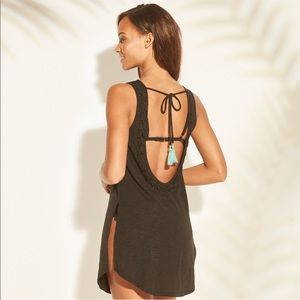 Women's braided scoop back cover dress